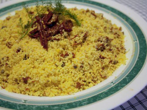 Piatto freddo cuscus ai pomodori secchi