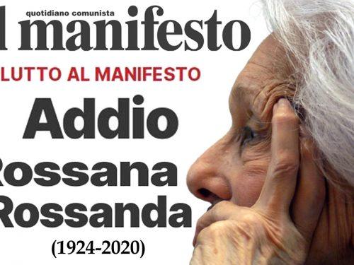 Addio a Rossana Rossanda la Comunista del Manifesto