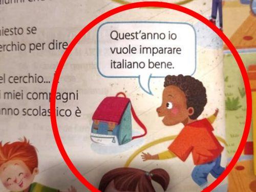 Libro di seconda elementare con venature razziste