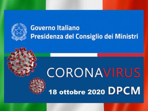 Dpcm 18 ottobre 2020: Le nuove norme