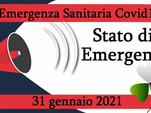 Emergenza Covid19: Firmato decreto Stato emergenza al 31 gennaio 2021