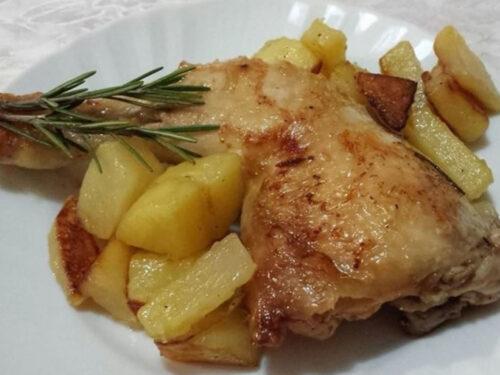 Dal Perù, pollo rosolato al vino bianco con contorno patate padella